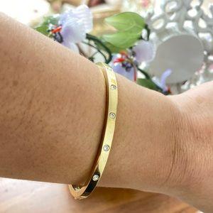 Fossil Goldtone Thin Crystal Pave Bracelet